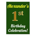 [ Thumbnail: Green, Faux Gold 1st Birthday Celebration + Name Invitation ]