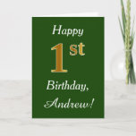 [ Thumbnail: Green, Faux Gold 1st Birthday + Custom Name Card ]