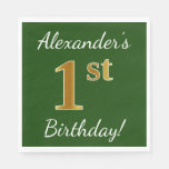 [ Thumbnail: Green, Faux Gold 1st Birthday + Custom Name Napkin ]