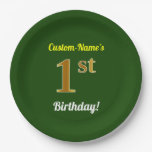 [ Thumbnail: Green, Faux Gold 1st Birthday + Custom Name Paper Plate ]