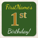 [ Thumbnail: Green, Faux Gold 1st Birthday + Custom Name Paper Coaster ]