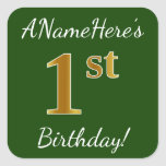 [ Thumbnail: Green, Faux Gold 1st Birthday + Custom Name Sticker ]