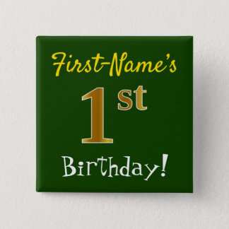 Green, Faux Gold 1st Birthday, With Custom Name Button