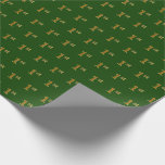 Hand shaped Green, Faux Gold 1st (First) Event   Custom Names Wrapping Paper