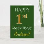 [ Thumbnail: Green, Faux Gold 1st Wedding Anniversary + Name Card ]