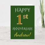 [ Thumbnail: Green, Faux Gold 1st Wedding Anniversary + Name Card ]