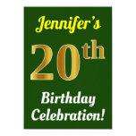 [ Thumbnail: Green, Faux Gold 20th Birthday Celebration + Name Invitation ]