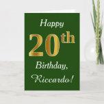 [ Thumbnail: Green, Faux Gold 20th Birthday + Custom Name Card ]