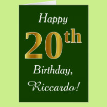 Green, Faux Gold 20th Birthday   Custom Name Card