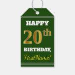 [ Thumbnail: Green, Faux Gold 20th Birthday + Custom Name Gift Tags ]