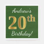 [ Thumbnail: Green, Faux Gold 20th Birthday + Custom Name Napkin ]