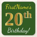 [ Thumbnail: Green, Faux Gold 20th Birthday + Custom Name Paper Coaster ]