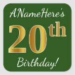 [ Thumbnail: Green, Faux Gold 20th Birthday + Custom Name Sticker ]
