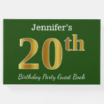 [ Thumbnail: Green, Faux Gold 20th Birthday Party + Custom Name Guest Book ]