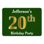 [ Thumbnail: Green, Faux Gold 20th Birthday Party + Custom Name Invitation ]