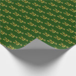 [ Thumbnail: Green, Faux Gold 20th (Twentieth) Event Wrapping Paper ]