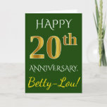 [ Thumbnail: Green, Faux Gold 20th Wedding Anniversary + Name Card ]