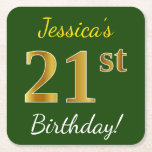 [ Thumbnail: Green, Faux Gold 21st Birthday + Custom Name Paper Coaster ]