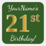 [ Thumbnail: Green, Faux Gold 21st Birthday + Custom Name Sticker ]