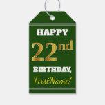 [ Thumbnail: Green, Faux Gold 22nd Birthday + Custom Name Gift Tags ]