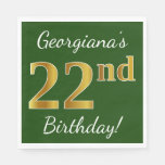 [ Thumbnail: Green, Faux Gold 22nd Birthday + Custom Name Napkin ]