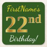 [ Thumbnail: Green, Faux Gold 22nd Birthday + Custom Name Paper Coaster ]