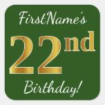 [ Thumbnail: Green, Faux Gold 22nd Birthday + Custom Name Sticker ]