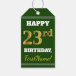 [ Thumbnail: Green, Faux Gold 23rd Birthday + Custom Name Gift Tags ]