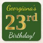 [ Thumbnail: Green, Faux Gold 23rd Birthday + Custom Name Paper Coaster ]