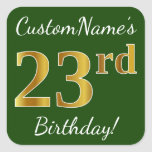 [ Thumbnail: Green, Faux Gold 23rd Birthday + Custom Name Sticker ]