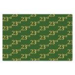 [ Thumbnail: Green, Faux Gold 23rd (Twenty-Third) Event Tissue Paper ]