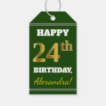[ Thumbnail: Green, Faux Gold 24th Birthday + Custom Name Gift Tags ]