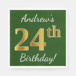[ Thumbnail: Green, Faux Gold 24th Birthday + Custom Name Napkin ]