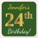 [ Thumbnail: Green, Faux Gold 24th Birthday + Custom Name Paper Coaster ]