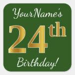 [ Thumbnail: Green, Faux Gold 24th Birthday + Custom Name Sticker ]