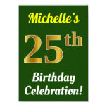 [ Thumbnail: Green, Faux Gold 25th Birthday Celebration + Name Invitation ]
