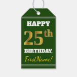 [ Thumbnail: Green, Faux Gold 25th Birthday + Custom Name Gift Tags ]