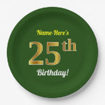 [ Thumbnail: Green, Faux Gold 25th Birthday + Custom Name Paper Plate ]