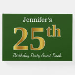 [ Thumbnail: Green, Faux Gold 25th Birthday Party + Custom Name Guest Book ]