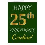 [ Thumbnail: Green, Faux Gold 25th Wedding Anniversary + Name ]