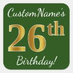 [ Thumbnail: Green, Faux Gold 26th Birthday + Custom Name Sticker ]