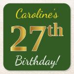 [ Thumbnail: Green, Faux Gold 27th Birthday + Custom Name Paper Coaster ]
