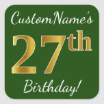 [ Thumbnail: Green, Faux Gold 27th Birthday + Custom Name Sticker ]