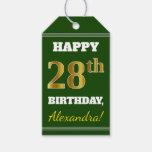 [ Thumbnail: Green, Faux Gold 28th Birthday + Custom Name Gift Tags ]