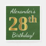 [ Thumbnail: Green, Faux Gold 28th Birthday + Custom Name Napkin ]