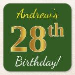 [ Thumbnail: Green, Faux Gold 28th Birthday + Custom Name Paper Coaster ]
