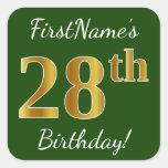 [ Thumbnail: Green, Faux Gold 28th Birthday + Custom Name Sticker ]