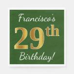 [ Thumbnail: Green, Faux Gold 29th Birthday + Custom Name Napkin ]
