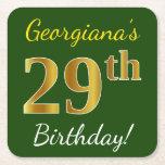 [ Thumbnail: Green, Faux Gold 29th Birthday + Custom Name Paper Coaster ]