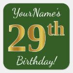 [ Thumbnail: Green, Faux Gold 29th Birthday + Custom Name Sticker ]